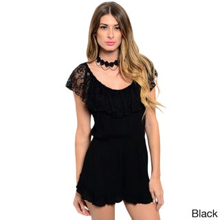 Shop the Trends Women's Sleeveless Romper with Lace Ruffle Neckline That Can Be Pushed Off-Shoulder (Option: Black - S)