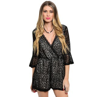 Shop the Trends Women's 3/4 Sleeve Wrap Front V-Neck Lace Romper with Scalloped Lace Trim|https://ak1.ostkcdn.com/images/products/11119031/P18121001.jpg?impolicy=medium