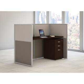Bush Business Furniture Easy Office 60W Straight Desk Closed Office with Mobile File Cabinet in Mocha Cherry