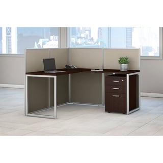 Bush Business Furniture Easy Office L Desk Open Office with 3-drawer Mobile Pedestal
