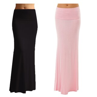 Women's Rayon Maxi Skirt (Pack of 2) (Option: Large - Black/Pink)