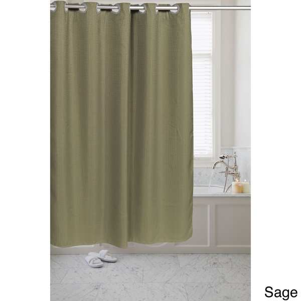 brown waffle shower curtain. Waffle Weave Fabric Pre hooked Shower Curtain  Free Shipping On Orders Over 45 Overstock com 18121028