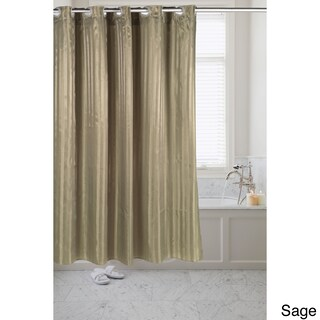 Satin Stripe Fabric Pre-hooked Shower Curtain