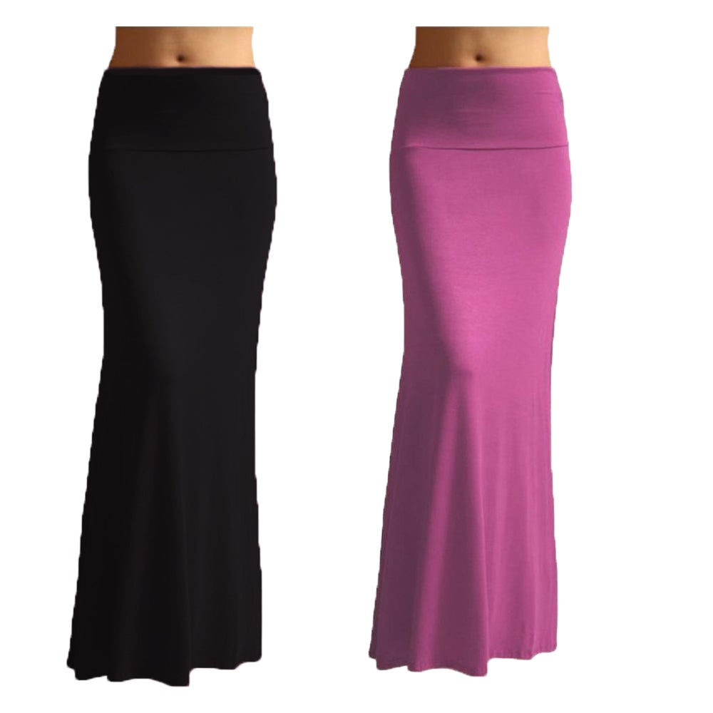 Womens Rayon Solid Maxi Skirt (Set of 2)