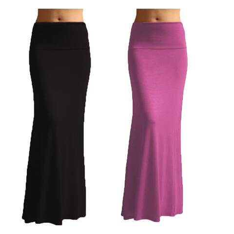 Women's Rayon Solid Maxi Skirt (Set of 2)