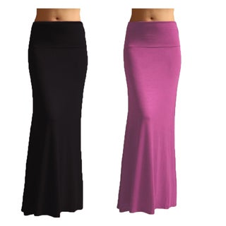 Women's Rayon Solid Maxi Skirt (Set of 2) (4 options available)