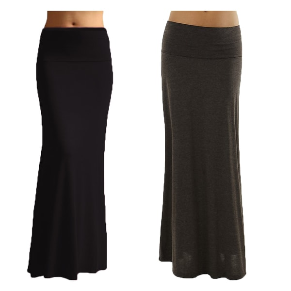 s black color rayon spandex maxi skirt pack of 2