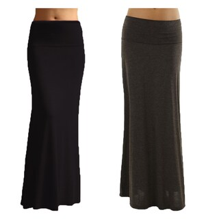 Women's Stretchy Maxi Skirt (Pack of 2)