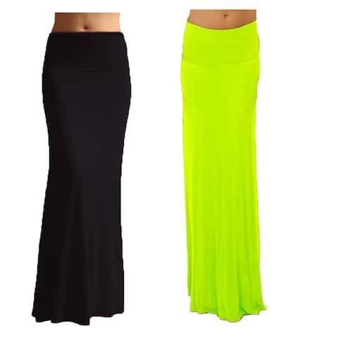 Women's Black/ Color Rayon Spandex Maxi Skirt (Pack of 2)
