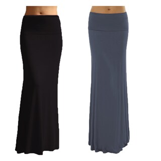 Women's Solid Basic Rayon Spandex Maxi Skirt (Pack of 2)