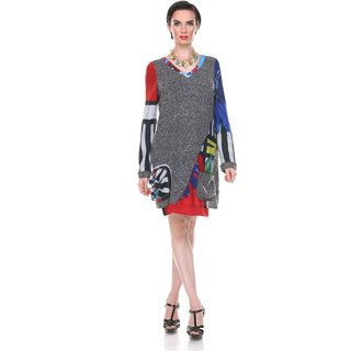 ARIS A Floral Knit Twill V-neck Tunic
