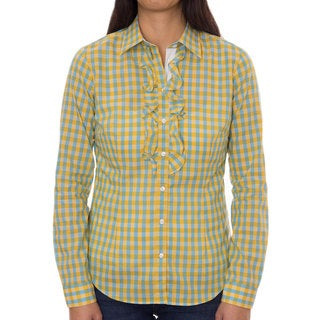 Robert Talbott Women's Cotton Blue/ Yellow Check Ruffled Front Blouse