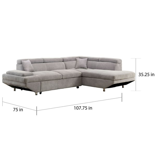 Furniture of America Nis Convertible Sleeper Sectional with Chaise