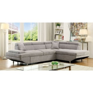 Furniture of America Laurel Contemporary Grey Flannelette Sleeper Sectional