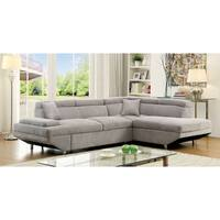 Furniture of America Laurel Contemporary Flannel Sleeper Sectional