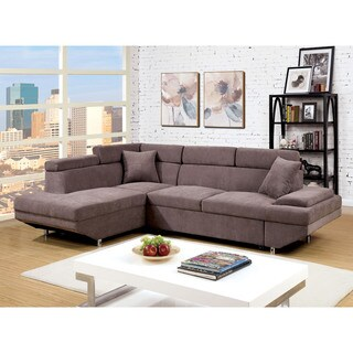 Furniture of America Laurel Contemporary Brown Flannelette Sleeper Sectional
