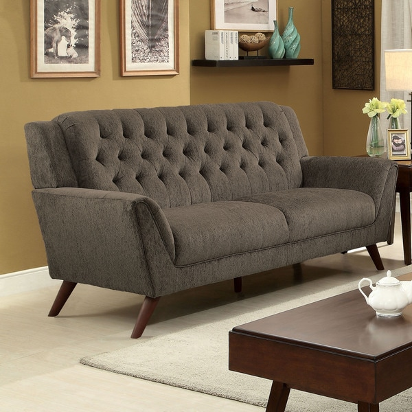 Furniture Of America Regaldo Mid Century Modern Grey Chenille Sofa Free Shipping Today