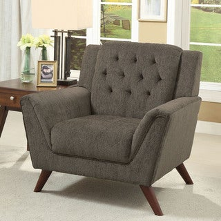 Furniture of America Regaldo Mid-Century Modern Grey Chenille Chair