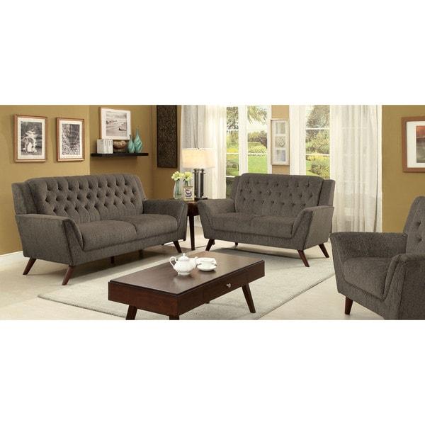 Furniture Of America Regaldo Mid Century Modern 2 Piece Grey Chenille Sofa Set Free Shipping