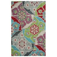 Rizzy Home Pandora Collection Multicolored Floral Accent Rug - Multi-color - 2' x 3'