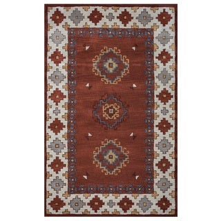 Rizzy Home Southwest Collection Multicolored Diamond Border Accent Rug (2' x 3')