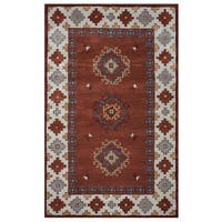 Rizzy Home Southwest Collection Multicolored Diamond Border Accent Rug - 2' x 3'