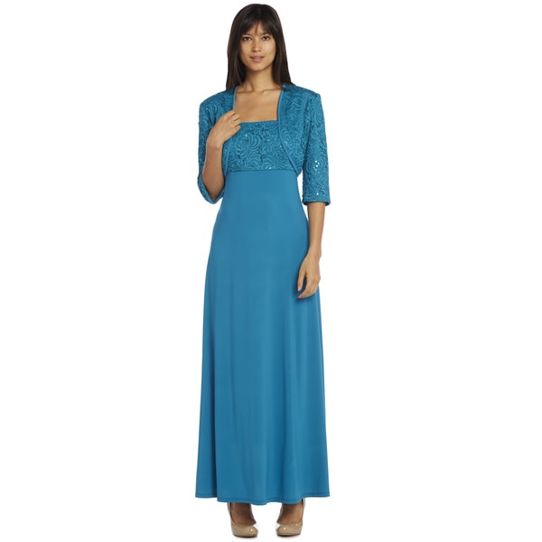 R&M Richards Teal Long Lace Jacket Dress - Free Shipping Today ...