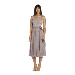 R&M Richards Women's Champagne Lace Panel Dress