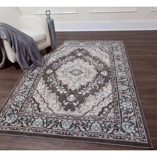 Home Dynamix Oxford Collection Grey Ornamental Machine Made Polypropylene Area Rug (5'2 x 7'2)