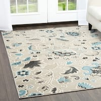Home Dynamix Oxford Collection Beige Floral Machine Made Polypropylene Area Rug - 5'2 x 7'2