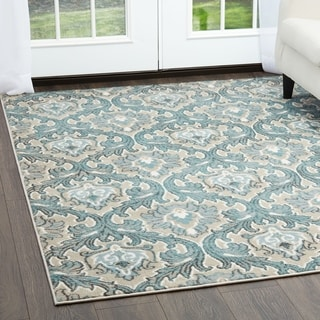 Home Dynamix Oxford Collection Cream/Blue Ornamental Machine Made Polypropylene Area Rug (7'10 x 10'2)