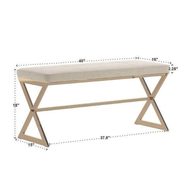 Admirable Shop Southport Champagne Gold Finish 40 Inch Metal Bench By Ibusinesslaw Wood Chair Design Ideas Ibusinesslaworg