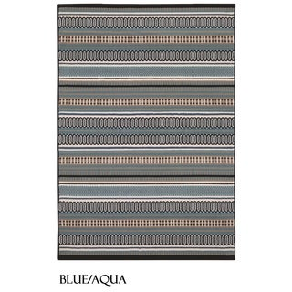 Rizzy Home Glendale Collection Power-loomed Multicolored Patterned and Stripe Accent Rug (2'3 x 4')
