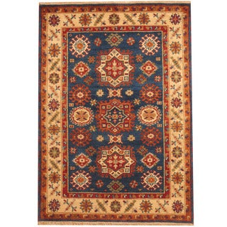Herat Oriental Indo Hand-knotted Tribal Kazak Blue/ Ivory Wool Rug (4' x 6')
