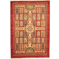 Handmade Herat Oriental Indo Tribal Kazak Wool Rug (India) - 4' x 6'