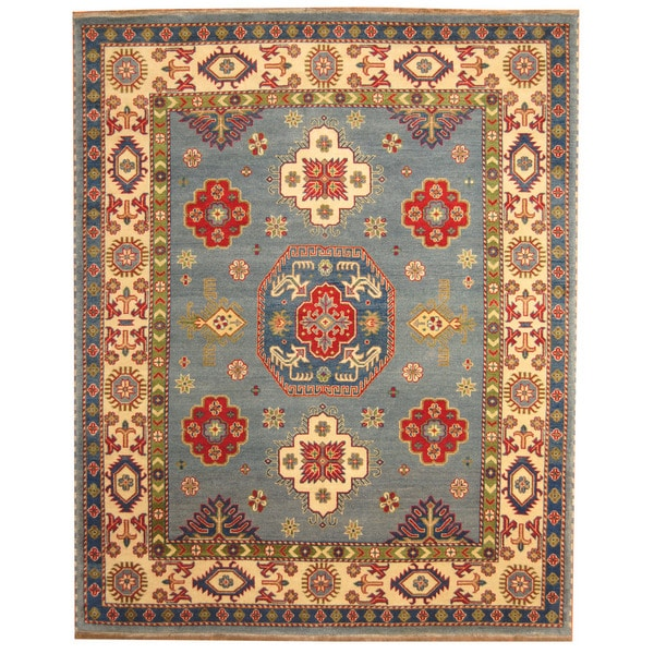 Herat Oriental Hand Tufted Wool Red Black Area Rug: Herat Oriental Indo Hand-knotted Tribal Kazak Light Blue