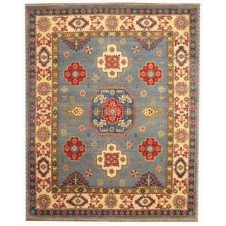 Herat Oriental Indo Hand-knotted Tribal Kazak Light Blue/ Ivory Wool Rug (8' x 10')