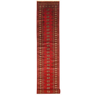 Herat Oriental Pakistan Hand-knotted Bokhara Red/ Black Wool Runner (2'7 x 19')