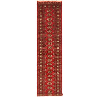 Herat Oriental Pakistan Hand-knotted Bokhara Red/ Black Wool Runner (2'7 x 13')