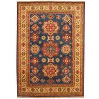 Handmade Herat Oriental Indo Tribal Kazak Blue/ Ivory Wool Rug (India) - 6' x 9'
