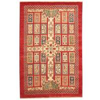 Handmade Herat Oriental Indo Tribal Kazak Wool Rug  - 6' x 9' (India)
