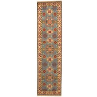 Herat Oriental Indo Hand-knotted Tribal Kazak Light Blue/ Ivory Wool Runner (2'6 x 10') - 2'6 x 10'