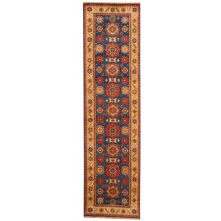 Herat Oriental Indo Hand-knotted Tribal Kazak Blue/ Ivory Wool Runner (2'6 x 10')