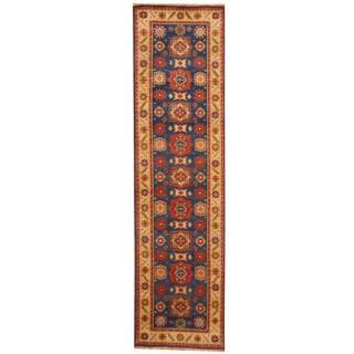 Handmade Herat Oriental Indo Tribal Kazak Wool Runner (India) - 2'6 x 10'