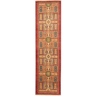 Herat Oriental Indo Hand-knotted Tribal Kazak Red/ Ivory Wool Runner (2'6 x 10')