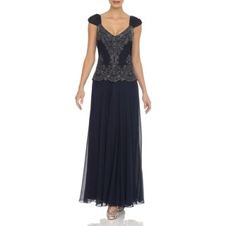 J Laxmi Women's Navy Embellished Bodice Chiffon Dress with Shawl