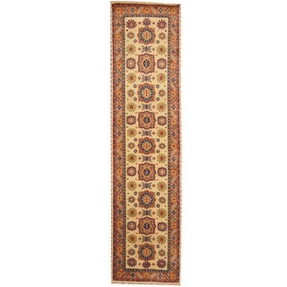 Herat Oriental Indo Hand-knotted Tribal Kazak Ivory/ Rust Wool Runner (2'6 x 10')