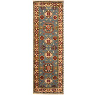 Herat Oriental Indo Hand-knotted Tribal Kazak Light Blue/ Ivory Wool Runner (2'6 x 8')