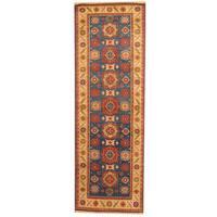 Handmade Herat Oriental Indo Tribal Kazak Blue/ Ivory Wool Runner (India) - 2'6 x 8'