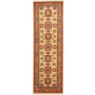 Herat Oriental Indo Hand-knotted Tribal Kazak Ivory/ Rust Wool Runner (2'6 x 8')
